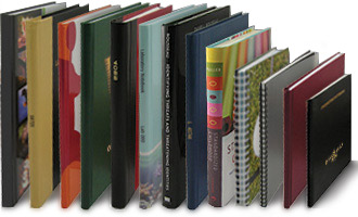 a variety of custom books with different bindings, cover and sizes